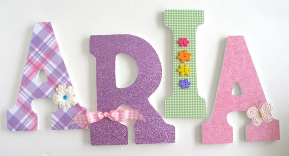 set of 4 decorated 9 wooden letters personalized nursery name dcor boy bedroom