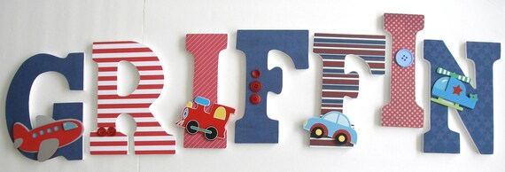 Wooden Letters for Nursery - Cars, Planes, and Trains Theme - Boys Nursery Decor - Custom Letter Set