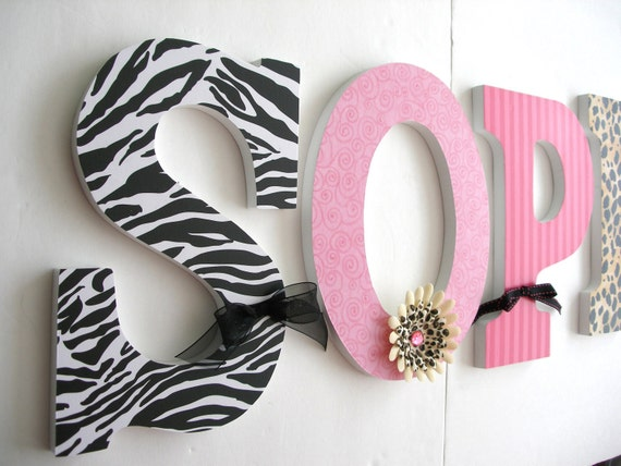 nursery letters girl custom nursery decor pink and black zebra print animal print
