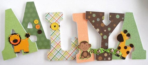 Baby Girl Wooden Letters Safari Theme Lion Giraffe