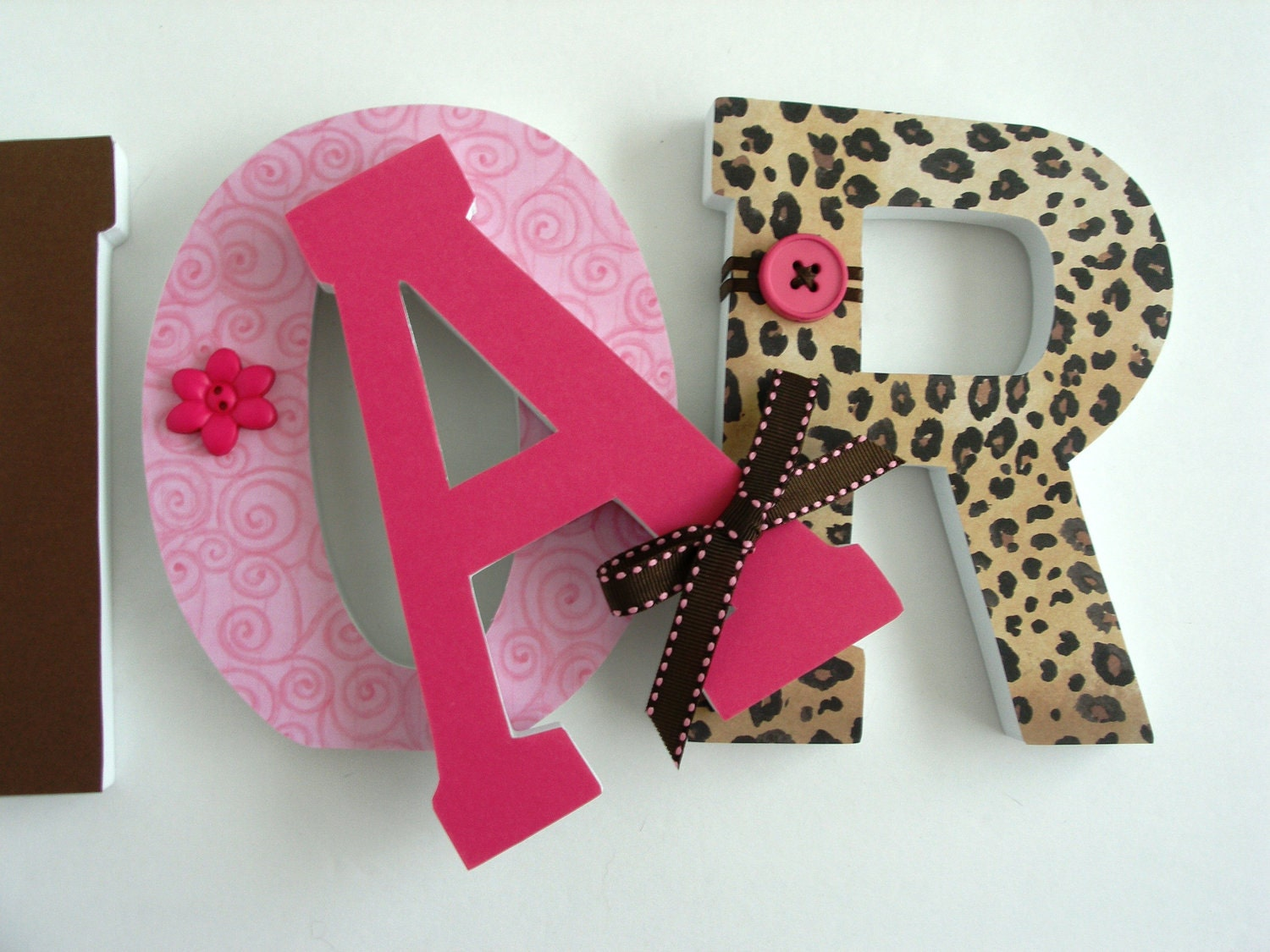 Leopard Custom Decorated Wooden Letters Personalized By
