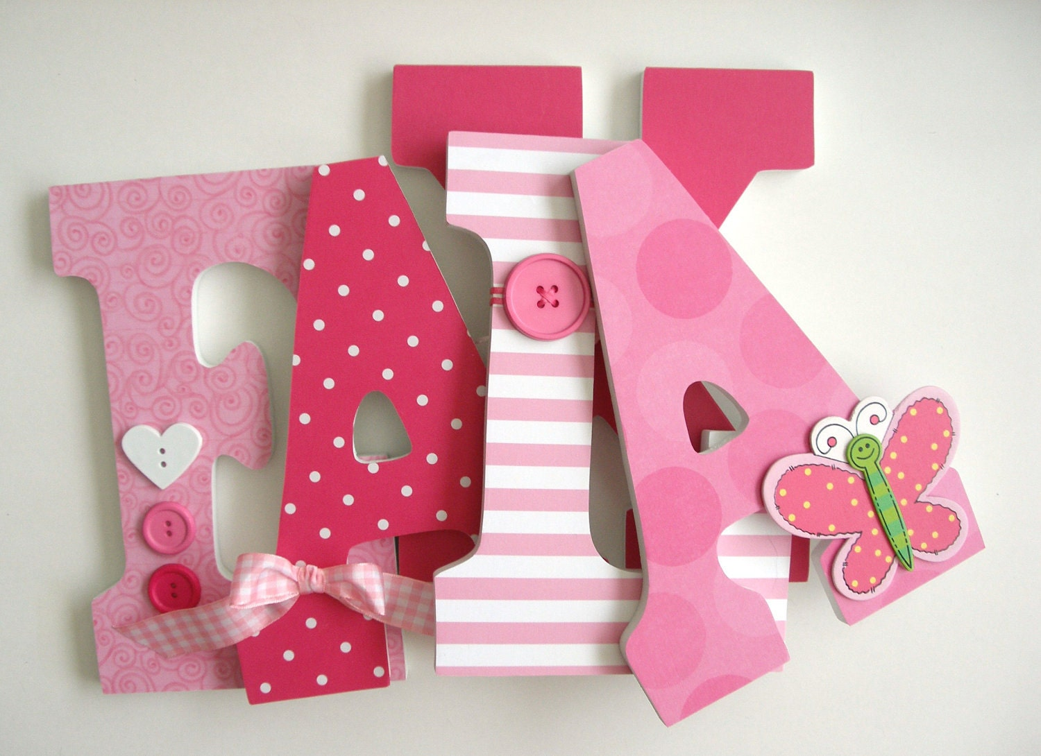 Baby Girl Custom Wooden Letters Pink Butterfly Decor Nursery