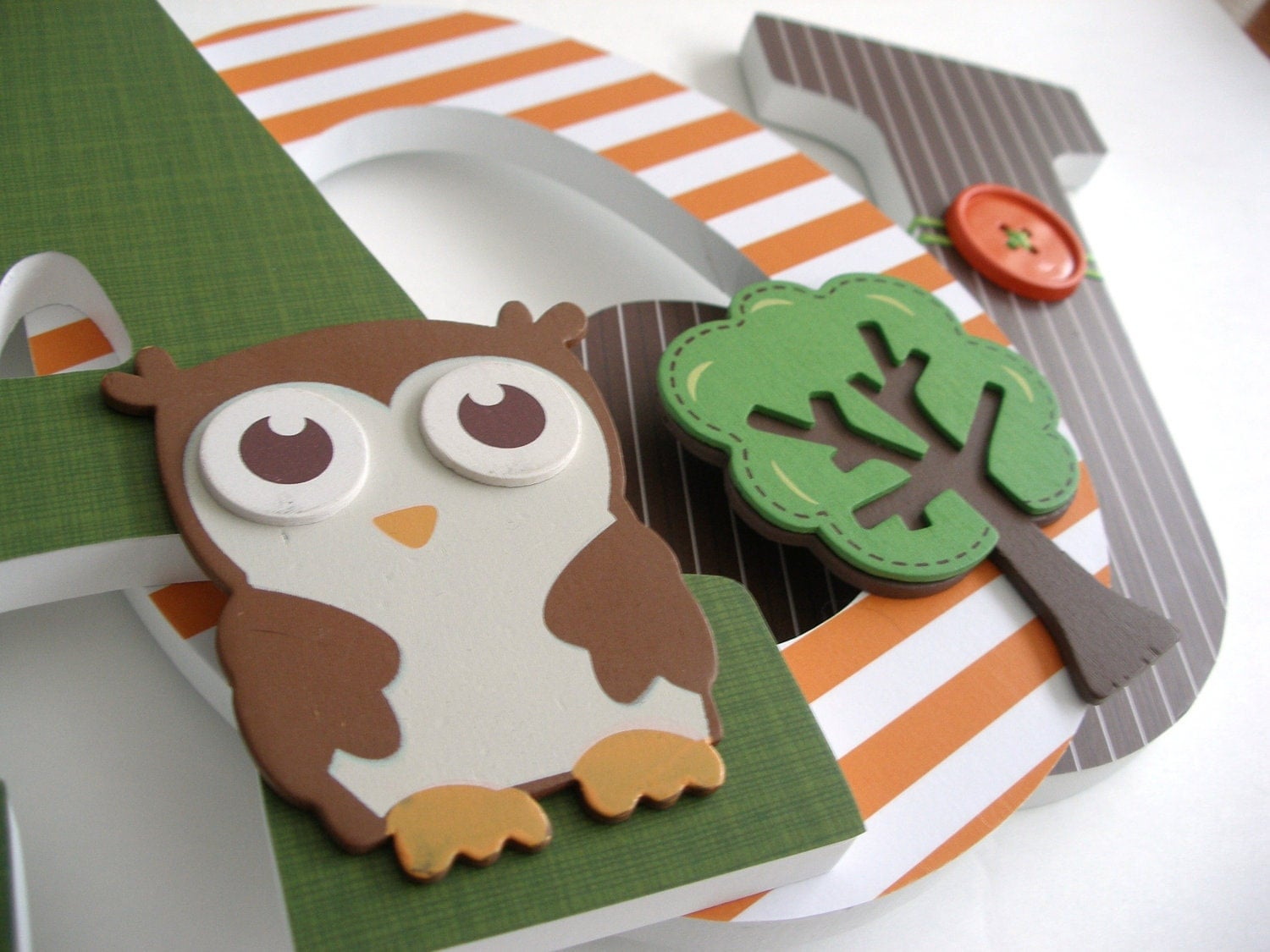 Owl & Tree Custom Decorated Wooden Letters Nursery Name