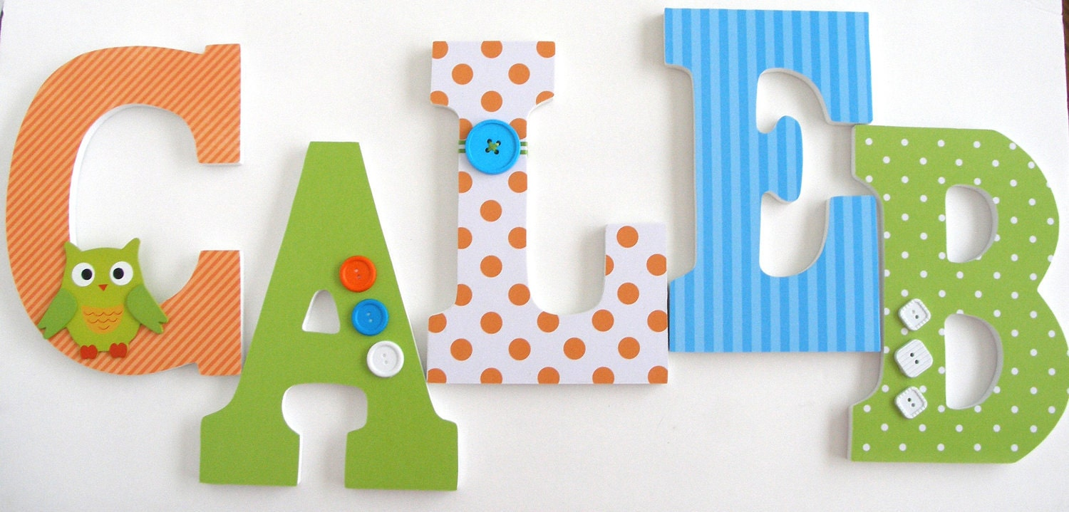 Nursery Wall Letters Orange Blue And Green Baby Boy