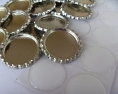 50 flattened bottle caps and 50 epoxy resin drops, NO HOLES , DIY kit Great for hairbow middles and magnets