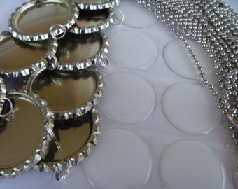 20 complete flattened bottle cap necklace DIY kits with 24 inch 2.4 mm. ball chains, epoxy stickers and bottle caps