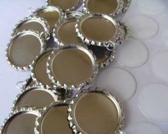 Bottle Cap DIY Kit Bottle Cap Supplies-100 flattened bottle caps(split ring attached) and 100 epoxy resin stickers-Priority Mail