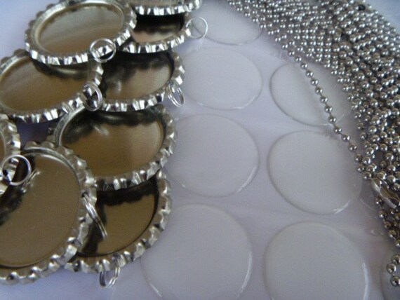 Special listing for Kimberly Day-20 complete flattened bottle cap kits with 24 inch 2.4 mm. ball chains, epoxy stickers and bottle caps