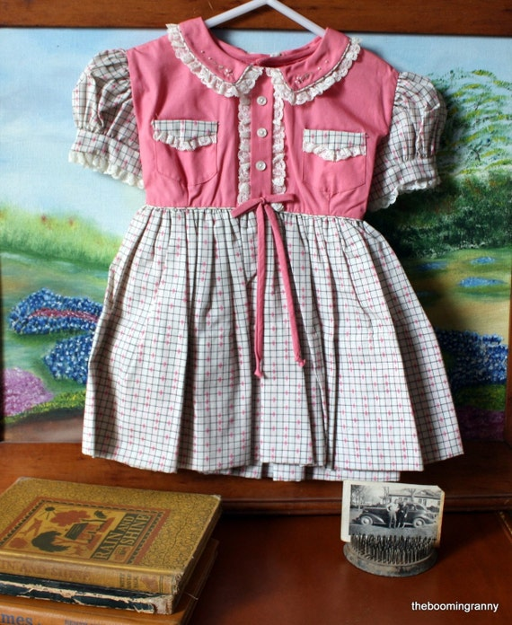 Pink White Toddler School Girl Dress Frock
