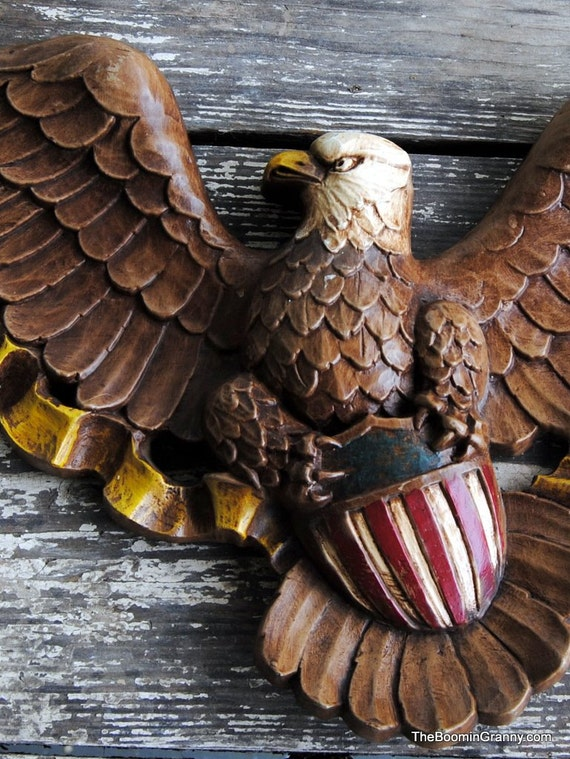 Patriotic Wall Hanging Eagle with Shield