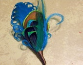 Tristan in Teal ... Set of 4 Peacock Feather Boutonnieres