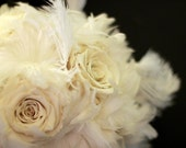 Ava Bouquet ... White Feather and Preserved Rose Bouquet