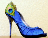 Royal Blue Satin Peacock Peep Toes Pumps ... Size 8