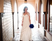 Royal Blue Peacock Feather Bouquet with Rhinestone Buttons