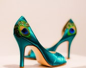 Teal Satin Pleated Peep Toe Peacock Pumps ... ANY SIZE