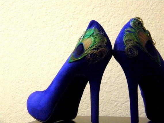 Royal Blue Peacock Pumps Size 10