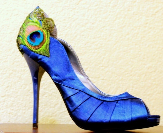 Royal Blue Satin Peacock Peep Toes Pumps ... Size 8 1/2