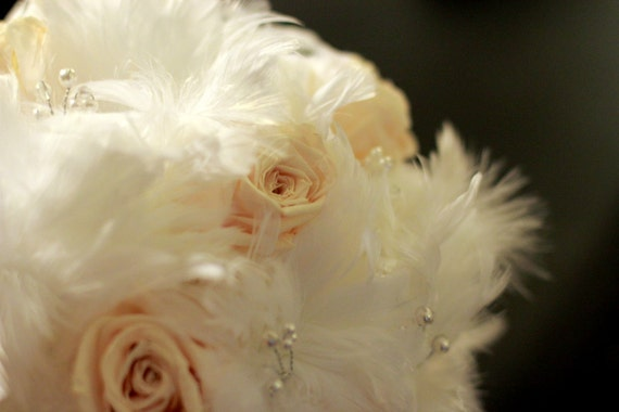 Anastasia Bouquet ... White Feather and Preserved Blush Rose Bouquet with Pearls