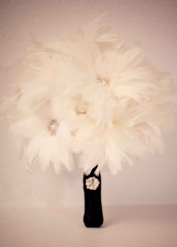 Mini Ophelia ... Bridesmaid Feather Bouquet with Rhinestones