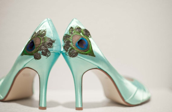 Reserved... NO Feathers Light Aqua ... Satin Pleated Peep Toe Peacock Pumps ... ANY SIZE
