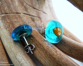 RESERVED For Heather Aqua & Yellow Fused Glass Stud Earrings