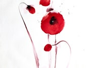 "Red Poppy Art . 8x11"" Signed fine art print in red, white and black . 'Field Poppies' IV - by Joanne Poore."