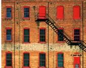 Red Window Escape  - Old Brick Factory with Escape Ladder 11x14 Fine Art Print
