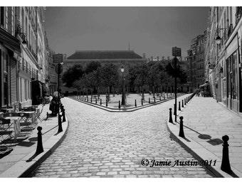 Decisions - Black and White Quiet Paris Street  Split 12 x 18 Fine Art Print