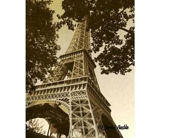 Antiqued Eiffel Tower - Sepia Textured Summer with Trees 8X10 Fine Art Print - Paris