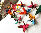 SALE Party Decoration Handmade Origami Cranes Flock of Cranes - 25 birds - ready assembled