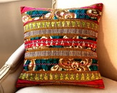 SALE Tribal Hmong Style Patchwork OOAK pillow cover  - 16 x 16 inches ( 40 cm )