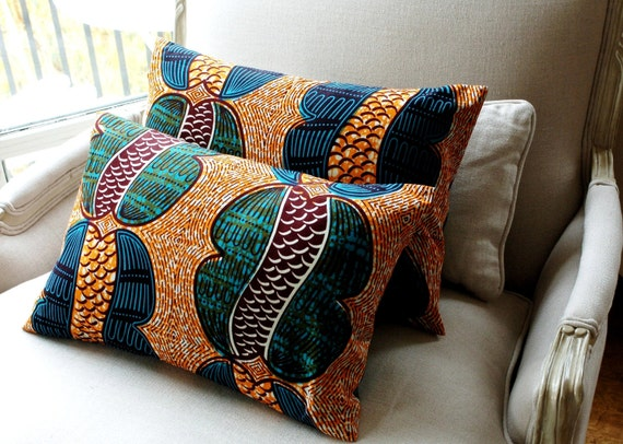 African Cool Beans - Set of TWO CUSHION pillow covers Genuine wax print batik - 12 x 18 inches