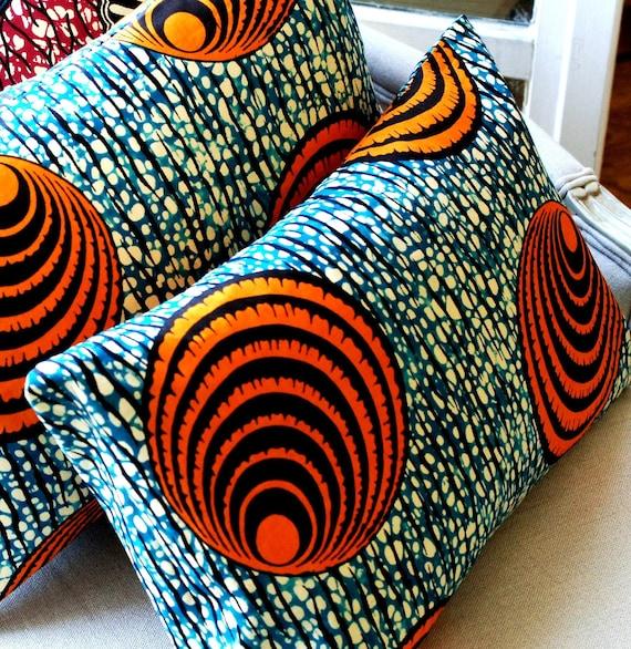 Oceana  Set of TWO CUSHION Throw batik pillow cover Genuine wax print batik - 12 x 18 inches