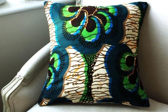 African Botanical / burlap CUSHION Throw pillow cover Genuine wax print batik - 16 x 16 inches