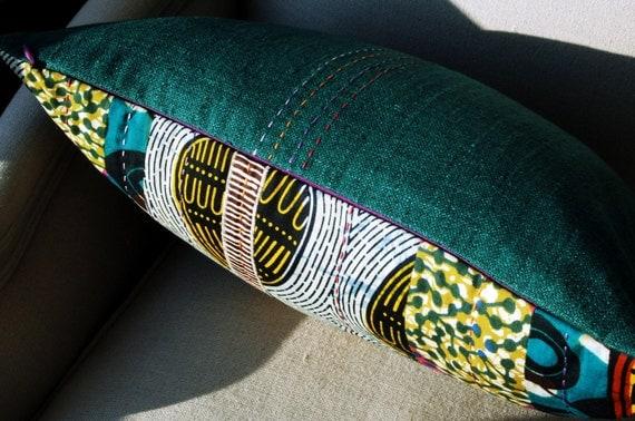 SALE Patchwork Stitch Silk OOAK Pillow cover - Dutch wax print batik - 12 x 18 inches