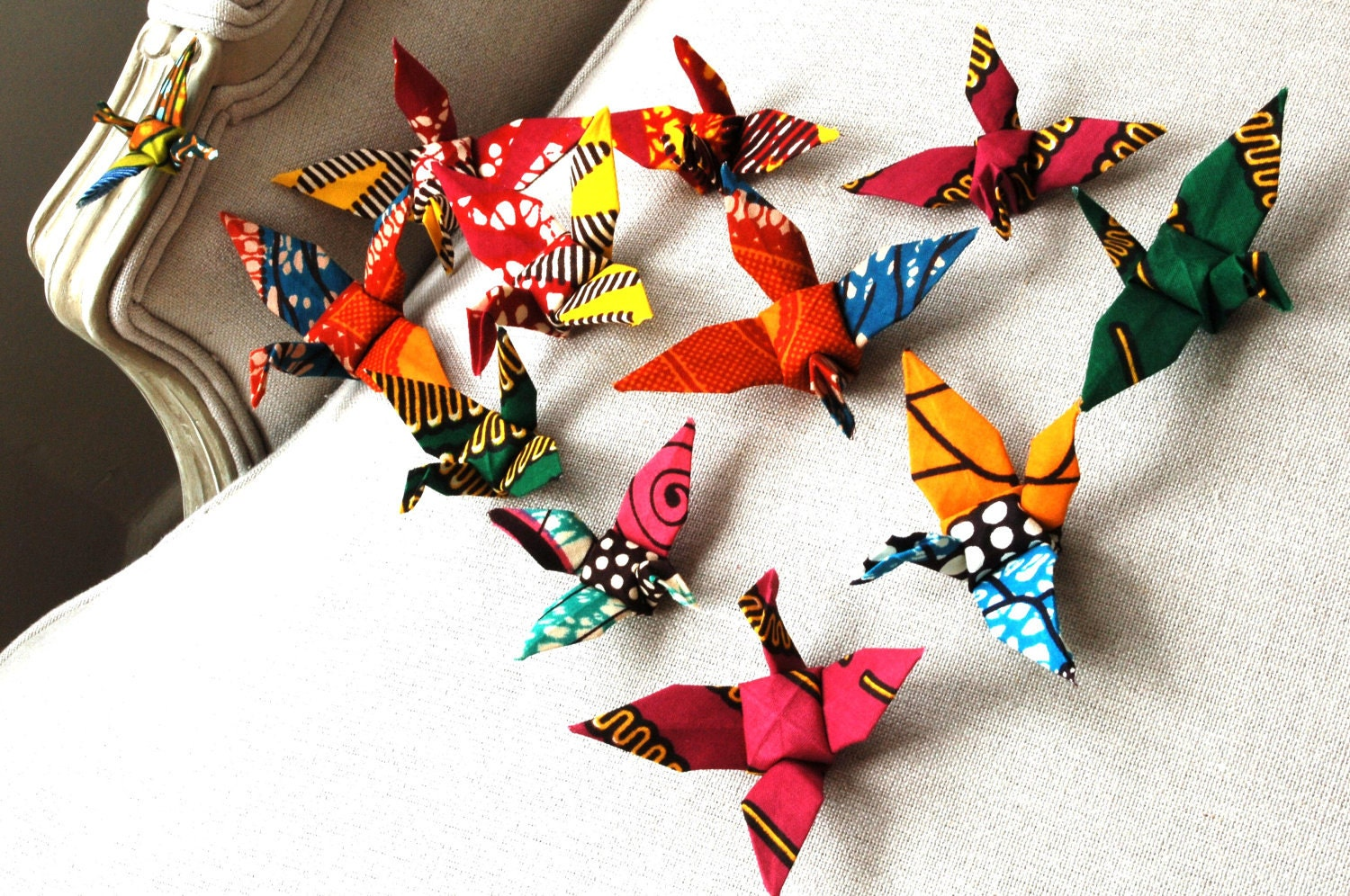 Party decoration handmade origami cranes flock of by for Decoration origami