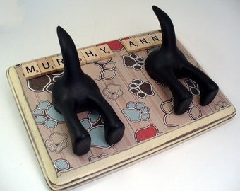 Dog Leash Holder - Double Tails -  Just the PAWS - Personalize with Optional Letter Tiles