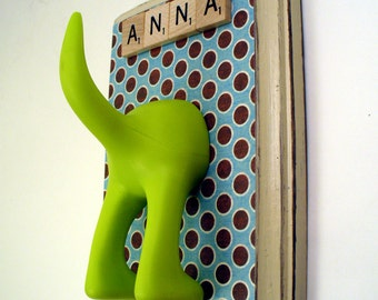 Dog Tail Leash Holder - Blu Retro Dots  - Personalize it with Optional Letter Tiles