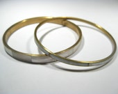 Vintage Abalone and Brass Bangles set of 2