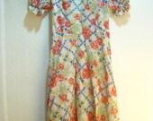 1970s Vintage Apolda German Spring Fashion Garden Dress - XS or S
