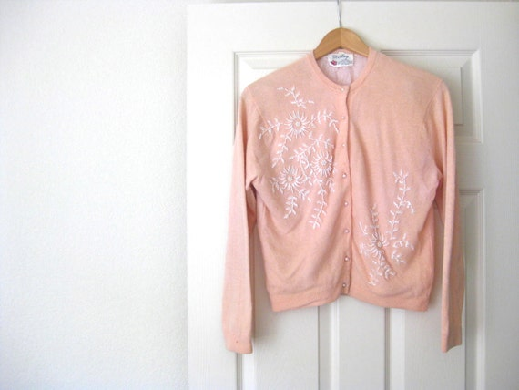 1950s Vintage Millay Beaded Pink Cardigan Sweater