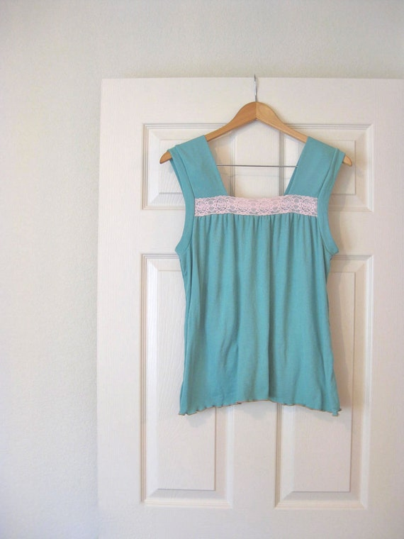 1970s Vintage Robins Egg Blue Summer Top by Connies Blouse