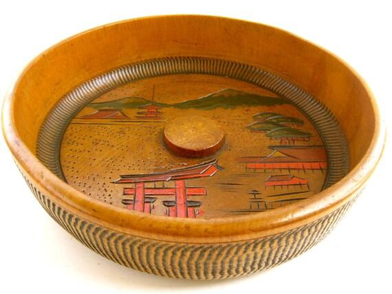1950s Vintage Japanese Teak Wooden Bowl
