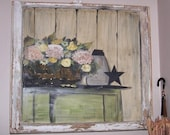 Old Antique Folk Art Shabby French Cottage Hand Painted Window from EclecticGatherings