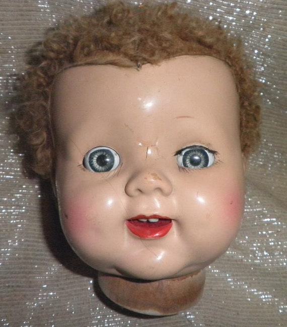 "reduced Price HUGE Vintage 17"" Composition Creepy eyes roll life like teeth Doll Head Altered Art Collage Mixed Media"