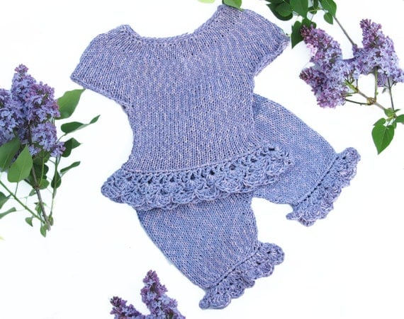 Violet set of top and pants for girl