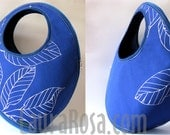 Leaves Blue Cotton Fabric Bag