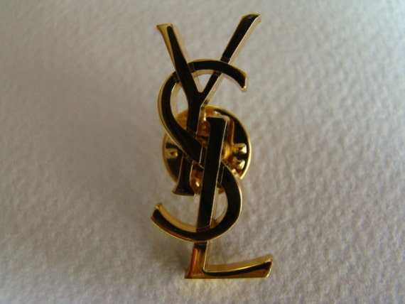 YSL Yves Saint Laurent Interlaced Letters Initals Pin