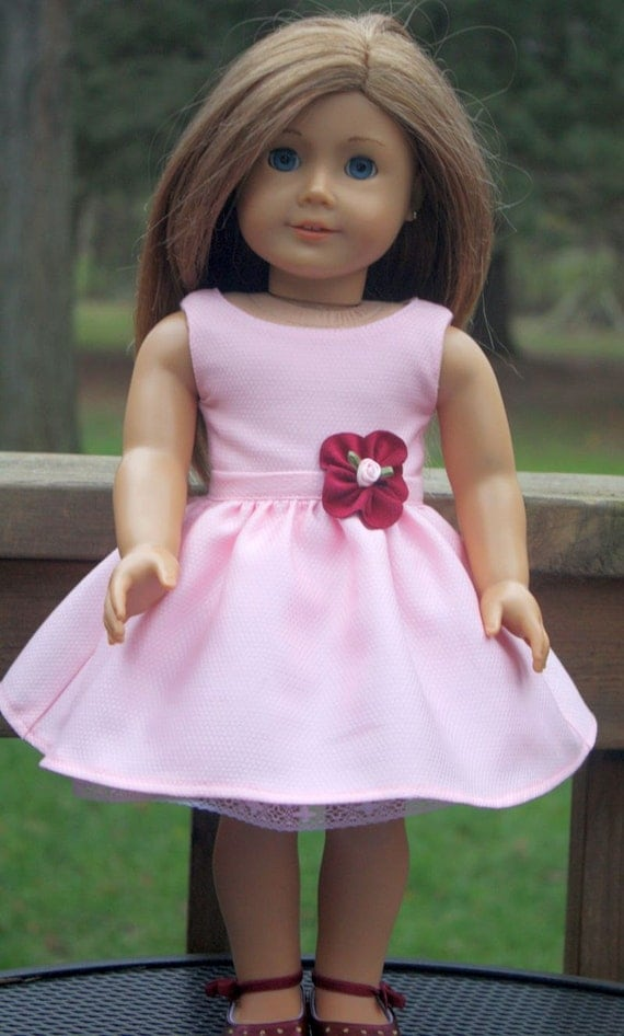 American Girl Doll Clothes-Pink Party Dress with petticoat and shoes