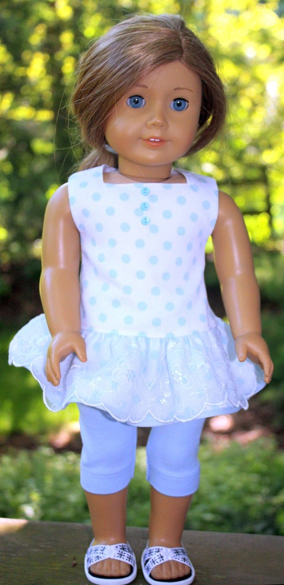 American Girl Doll Clothes-Blue and White Polka Dot Short Dress with Leggings